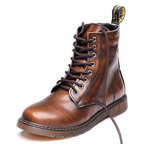 Sunny&Baby Men's Shoes Classic Leather Lace UP Oxfords High Top Boots For Gentlemen Abrasion Resistant (Color : Fleece Inside Brown, Size : 5MUS Big Kid)