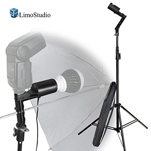 LimoStudio Single Head Photo Bulb Socket with Flash Bracket E26 / E27 Standard Base Size, Flash Lock Button, Umbrella Reflector Insert, Light Stand Tripod, Carry Bag, Photo Studio, AGG2048 by LimoStudio