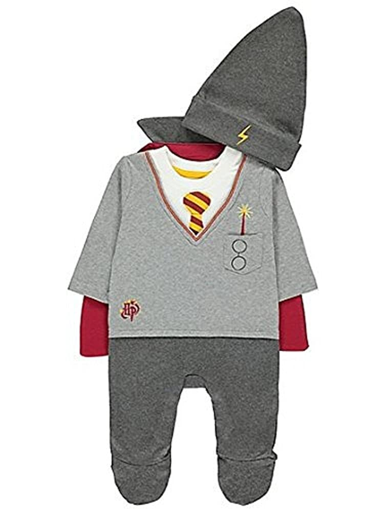 George Harry Potter Grey Baby Babies All-in-One Outfit with Hat and Cape