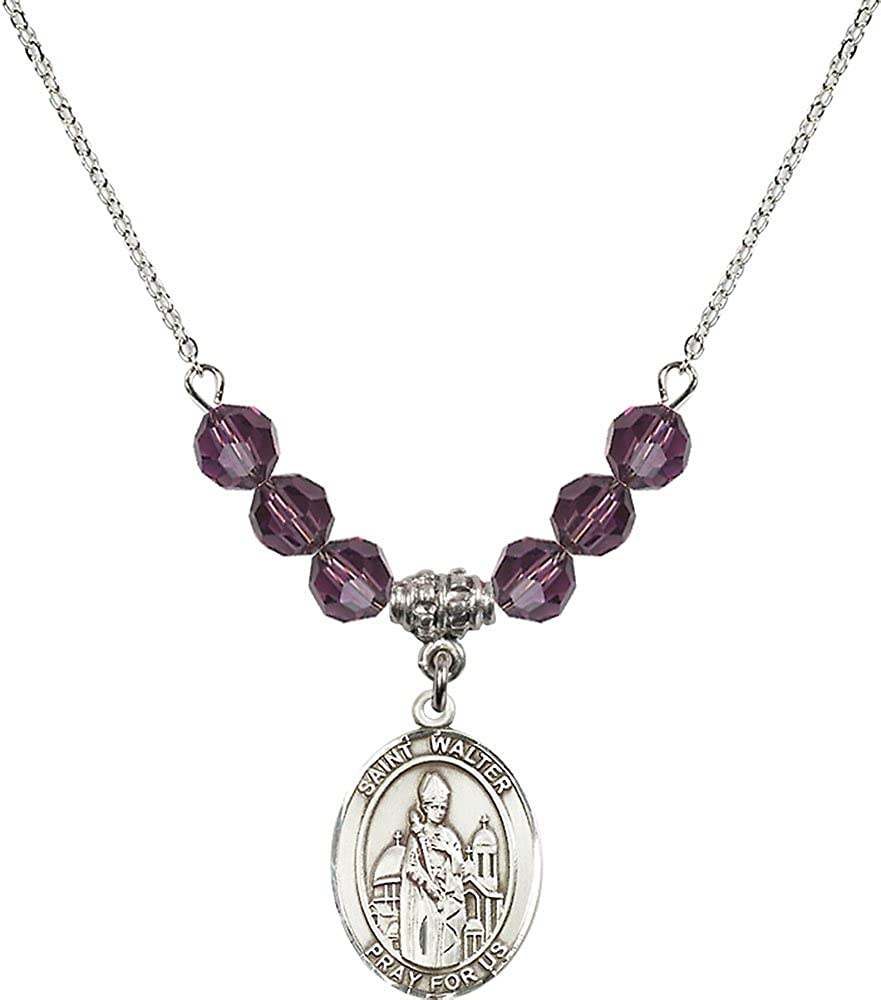 18-Inch Rhodium Plated Necklace with 6mm Amethyst Birthstone Beads and Sterling Silver Saint Walter of Pontoise Charm.