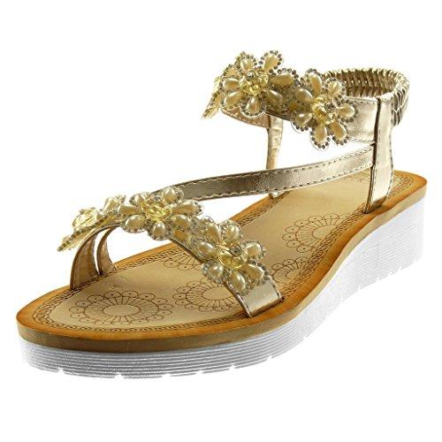 Angkorly Damen Schuhe Sandalen - Knöchelriemen - Slip-On - Plateauschuhe - Blumen - Strass - String Tanga Keilabsatz High Heel 3.5 cm Gold
