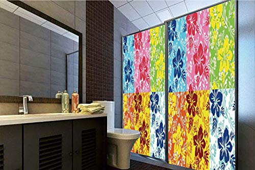 Horrisophie dodo 3D Privacy Window Film No Glue,Hawaiian,Tropical Colorful Blooming Hibiscus Flower Summer Themed Pattern with Leaves,Blue Red Green,70.86