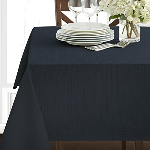 "Benson Mills Textured Fabric Tablecloth, Navy, 60"" x 120"" Re"