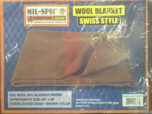 Mil-Spec Adventure Gear Plus MSA02-7957018000 Swiss Style Chestnut Blanket with Accent Stripes, Brown/Red ()
