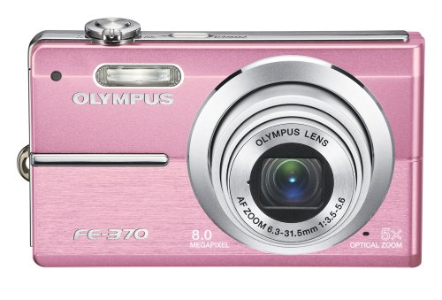 Olympus FE370 8MP Digital Camera with 5x Optical Dual Image Stabilized Zoom (Pink)