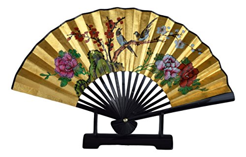 (1980s Vintage Classic 24-inch Hand-painted Decorative Fan, Gold Leaf, 2 Magpie Cherry Blossom Poeny Blessings of Happiness, Bird, Chinese Japanese Style, with Stand(T108))