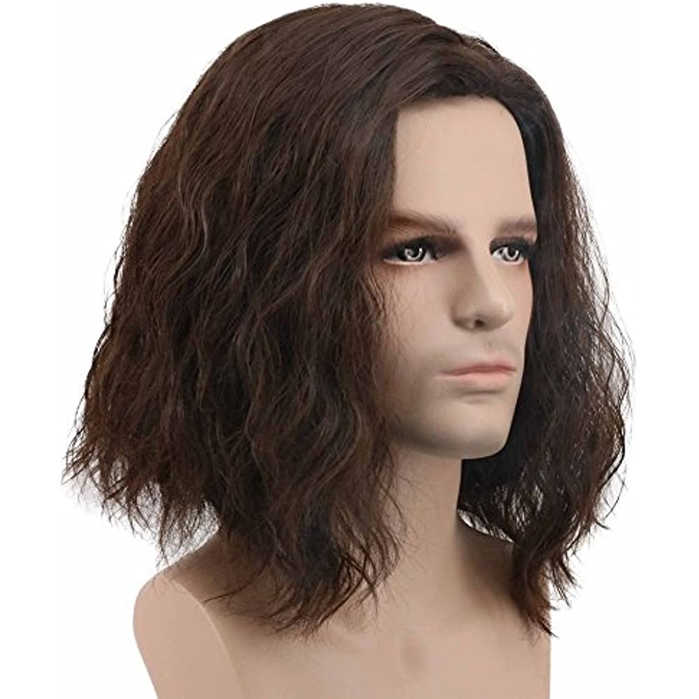Men Fluffy Short Curly Brown Wig Halloween Cosplay Anime ...