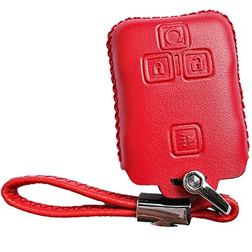 Alegender Hand Sewing Leather Key Fob Cover Case Holder Bag Protector for Chevrolet Chevy Colorado 2017 2018 Silverado GMC Canyon Sierra Yukon Cadillac