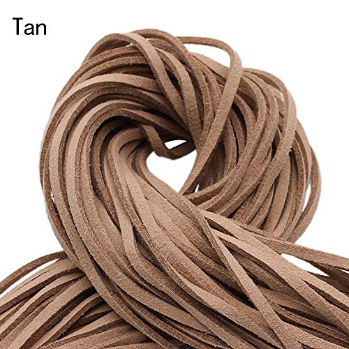 Tan Velvet Cord - Fincos 20 Yards 2.8x1.5mm Faux Suede Cord String Rope Thread Velvet Leather Cords for Necklace Jewelry - (Color: tan)