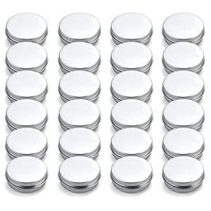 Tosnail 2 oz. Aluminum Round Lip Balm Tin Container Bottle with Screw Thread Lid – Great for Store Spices, Candies, Tea or Gift Giving, Pack of 24