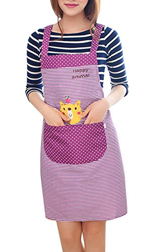 Sealike Classic Strip Heart Cute Cat Apron with Pocket for Women Girls with Stylus Purple