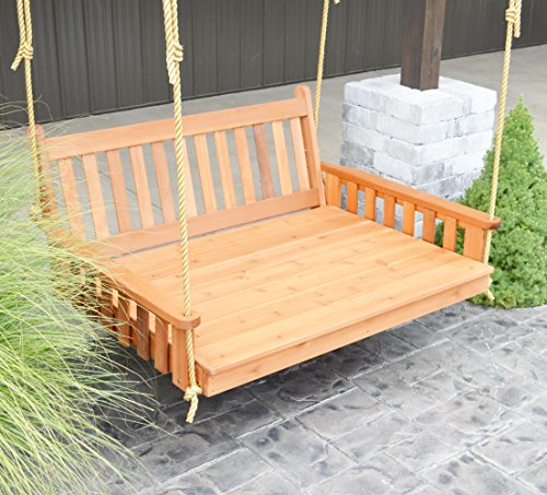 BEST PORCH SWING BED, Outdoor Swinging Daybed, Patio Day Bed Rope Swings, Hanging 3 Person Bench, Unique Western Red Cedar Outside Furniture Decor, English Garden (5 Ft Walnut w 4' Cushion)