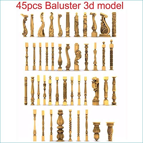 Graven 45pcs/Set Baluster 3D Model STL Relief for CNC STL Format Staircase Column 3D Model for CNC STL Relief vectric Aspire