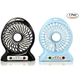 1pair - Mini Portable USB Rechargeable Fan with 3 Adjustable Speed - Built-in 2200mA External Batteries can output as Power Bank - Features LED light Great for Outdoor Camping and Hiking