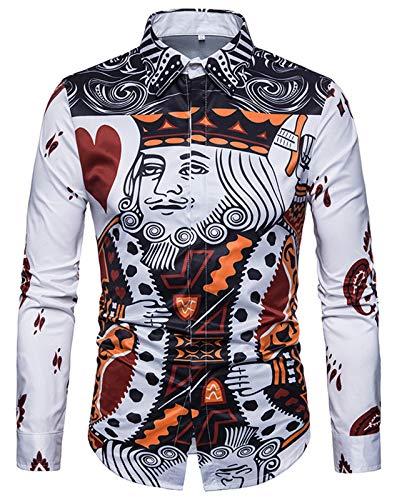 WHATLEES Mens Fashion Luxury - 3D Print Poker Slim Fit Stylish Long Sleeve Dress Shirts