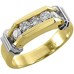 14k Yellow Gold Mens Brilliant Round 5-Stone .75 Carats Diamond Ring