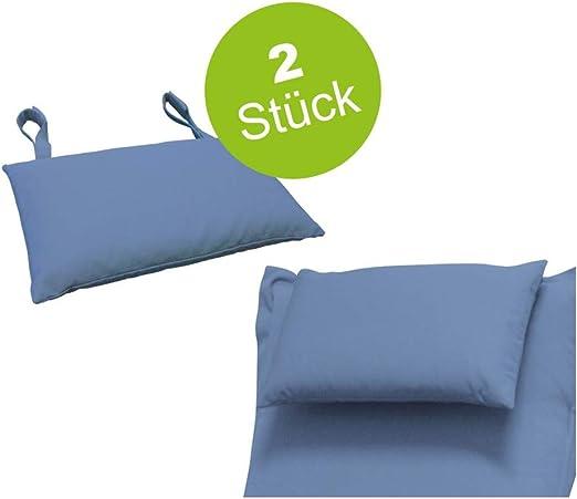 Indoba - 2 Cojines Muebles de jardín, Cojines Azules, Cojines Acolchados, Cojines para la Cabeza, sillas, tumbonas de jardín: Amazon.es: Jardín