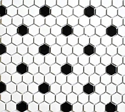 White And Black Mixed Hexagon Porcelain Mosaic Floor Wall Tile Com