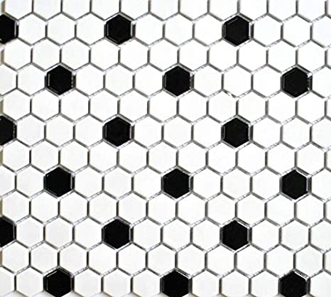 White And Black Mixed Hexagon Porcelain Mosaic Floor And Wall Tile