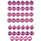 NA 41 Count Assorted Shatterproof Christmas Ornaments Set - Includes Shiny, Matte, and Glitter Balls and Teardrops (Bright Pink)