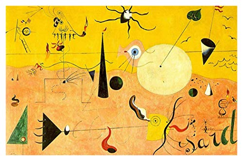 - JH Lacrocon Catalan Landscape by Joan Miro Handpainted Reproduction - 120X75 cm(ca. 48X30 inch) Abstract Paintings Canvas Wall Art Unmounted for Living Room