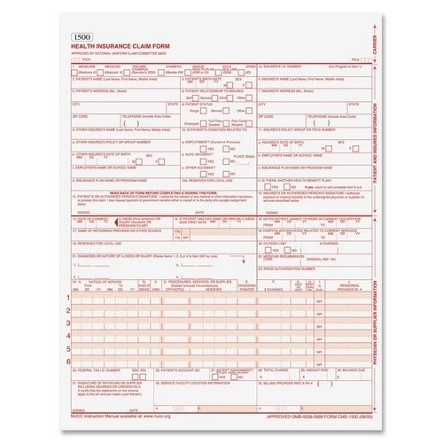 Tops CMS Health Insurance Claim Form with Sensor Bar,11'' x 8.5'' Form Size - 250 / Pack