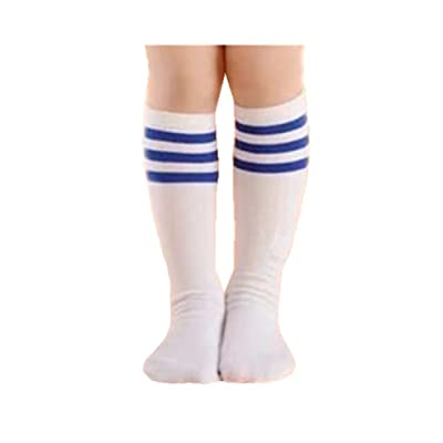 3-6 Years Kids Unisex Baby Toddler Kids Triple Stripes Cotton Knee High Socks