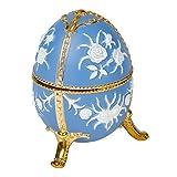 Periwinkle Blue Faberge Egg Shaped Metal Musical Figurine Plays Bolero