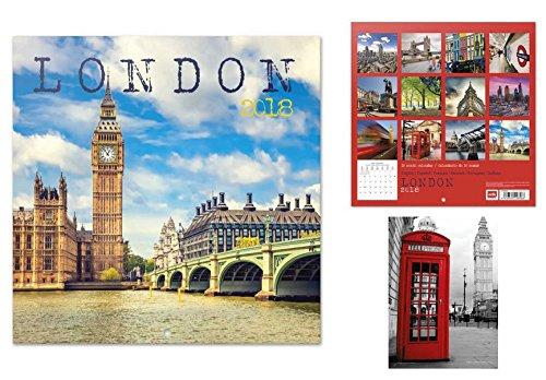 Set: Londra, Big Ben, Palazzo di Westminster, Calendario Ufficiale 2018 (30x30 cm) E 1x Cartolina Postale (15x10 cm) 1art1®