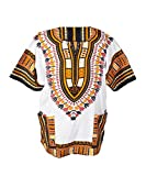 Lofbaz Traditional African Print Unisex Dashiki Size XXXXXL White and Orange