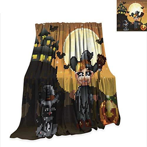 Betterull Travel Throw Cover Blanket Halloween Background with boy Witch Pumpkin Kitten Witch 80