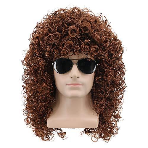 Yuehong Men's Costume Heavy Metal Rocker Wigs Cosplay Long Curly Brown Wig]()
