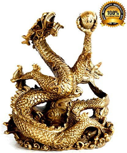 spj feng shui dragon figurine brass bronze statue. Black Bedroom Furniture Sets. Home Design Ideas