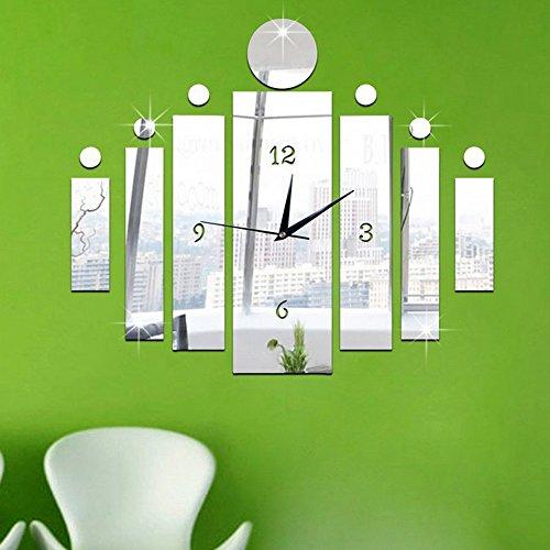 Forepin® Modernes Design 3D DIY Wanduhr Acrylglas Spiegel Aufkleber Große Uhr für Zimmerdeko Wohnkultur Wohnzimmer-Dekoration Muster 10 - Silber Wanduhr