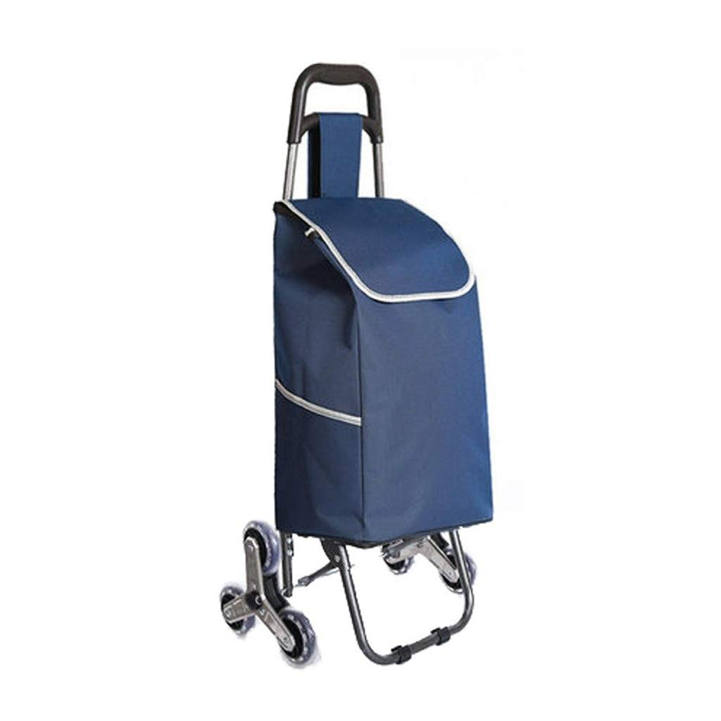 Lxrzls Hand Cart - Household Portable Trolley - Suitable for The Elderly - Dark Blue Color - Stainless Steel Hand Car