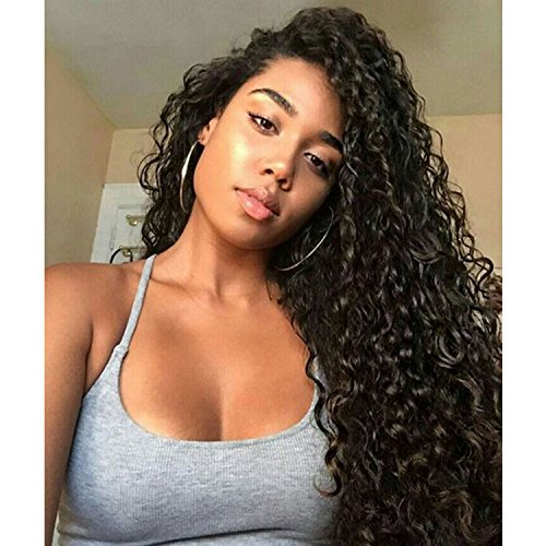 Weave Master Curly Lace Front Human Hair 130% Density Brazilian Remy Wigs with Baby Hair For African Americans Natural Color (16inch) by weave master (Image #9)