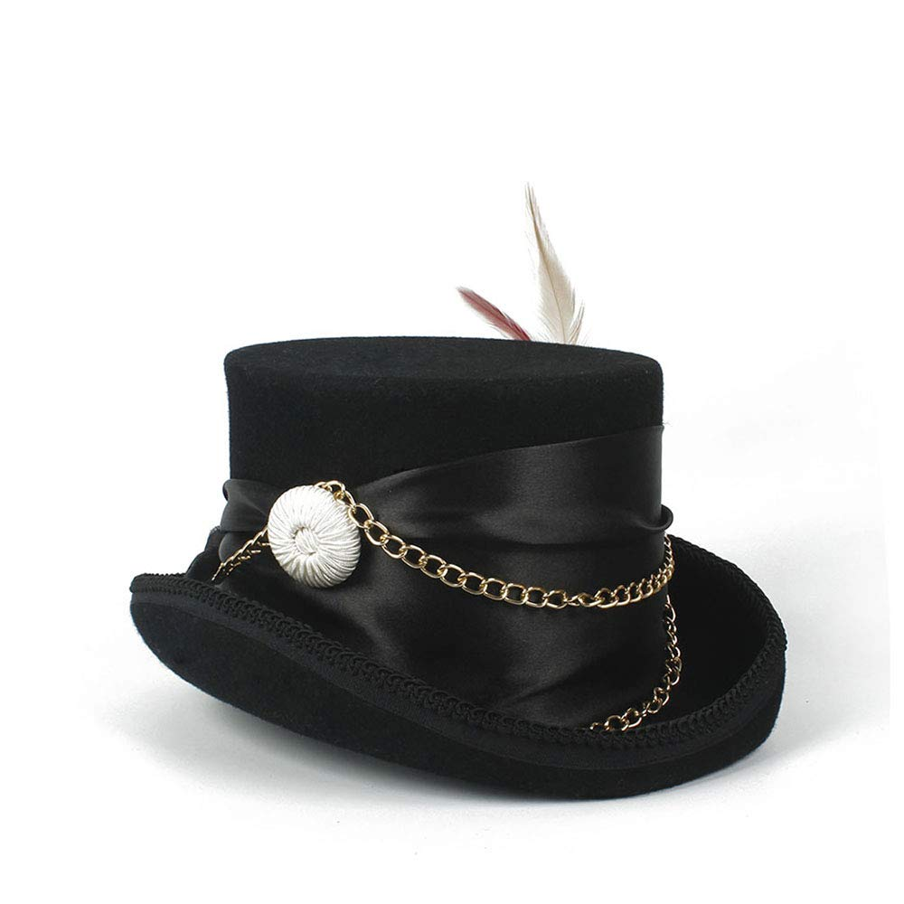LL Women'sFeather Metal Chain Top Hat Ladies Wool Fedora Magician Party Hat 4Size S M L XL 13.5 cm (5.3 Inch) (Color : Black, Size : 61cm) by LL (Image #6)