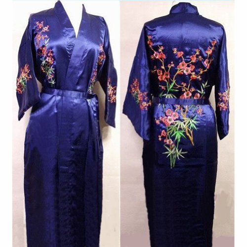 Chinese Women's Silk Satin Embroidery Kimono Robe Gown Flowers (Blue, XXL)