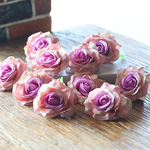 PARTY JOY Artificial Silk Rose Flower Heads Fabric Floral DIY For Wedding Home Flower Wall Decor,Pack of 10 (Vintage - Silk Flower Mixed