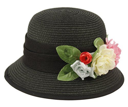 Women's Gatsby Linen Cloche Hat with Lace Band and Flower (CL2796BLACK)