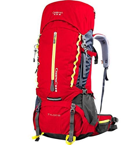 Moda deporte 60L escalada bolsa bolso impermeable bolsa de viaje tour de paquete trekking caminata al aire libre para hombres y mujeres , blue Red