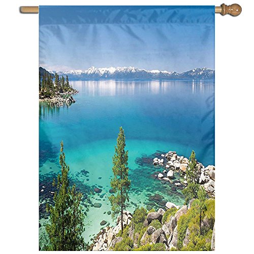 HUANGLING Tranquil View Of Lake Tahoe Sierra Pines On Rocks With Turquoise Waters Shoreline Home Flag Garden Flag Demonstrations Flag Family Party Flag Match Flag 27''x37'' by HUANGLING