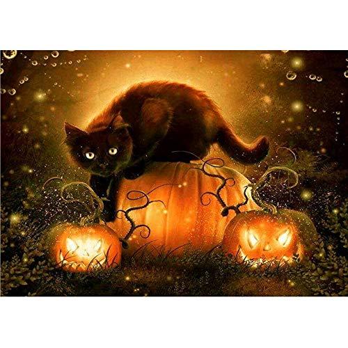 Halloween Cat Tail Diy (FILOL 5D DIY Halloween Cat Pumpkin Pattern Diamond Painting Kit, Craft Full Diamond Embroidery Rhinestone Cross Stitch Arts Supply for Home Wall Decor Living Room Bedroom)