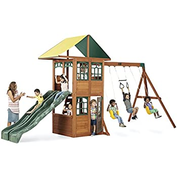 Amazon Com Kidkraft Treasure Cove Wooden Swing Set Toys