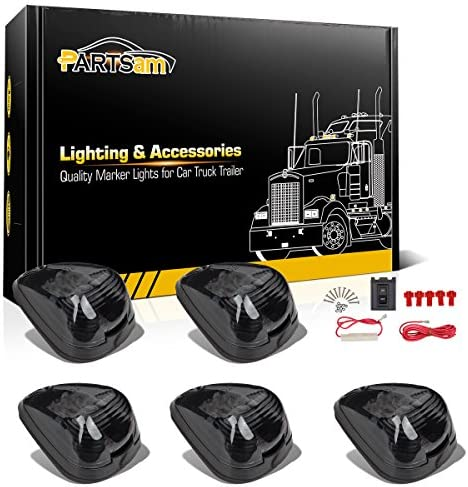 Partsam 5X Amber LED Smoke Cab Marker Light Assembly Compatible with EF150 250 350 450 550 19992015 Pickup Trucks
