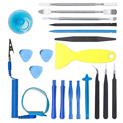 Kinstecks 20 in 1 Opening Pry Tool Repair Kit Professional Repair Tool Kit with Anti-Static Wrist Strap for Repairing iPhone iPad Samsung HTC LG Sony Cellphone Tablet MacBook ()