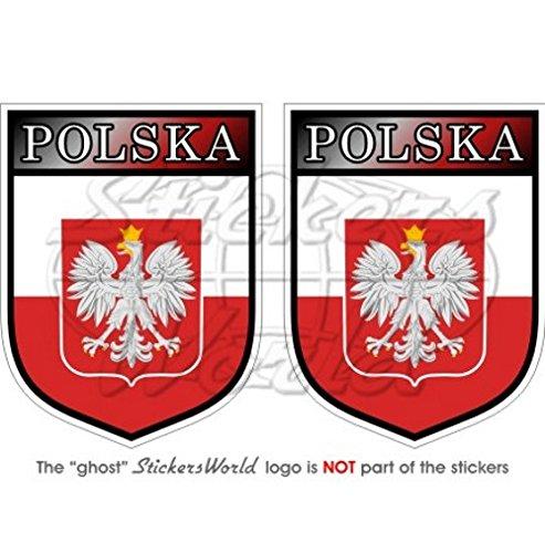 Pologne Polonais Polska Bouclier 75mm (7,6cm) Bumper en vinyle autocollants, Stickers x2 StickersWorld