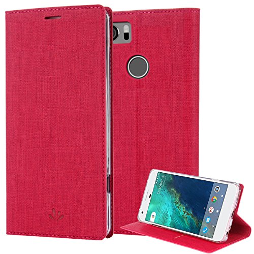 Google Pixel 2 XL Case, PU Leather Slim Flip Wallet Card Slots Cover Kickstand Feature and TPU Bumper Full Body Protection for Pixel 2 XL (Rose)