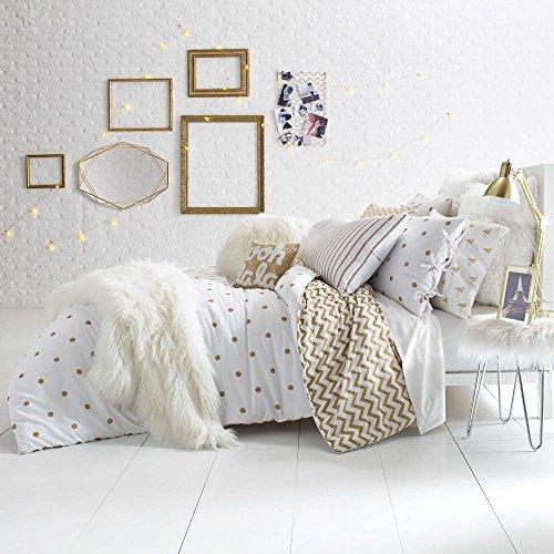 Cotton Sateen Reversible Comforter Chic Gold Polka Dot Print on Crisp White Set (FULL/QUEEN)