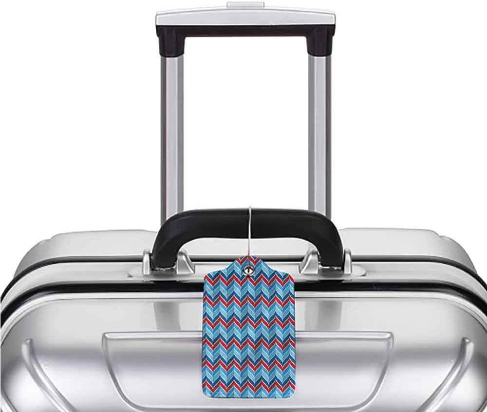 1,2 /& 4 Pack Stainless Steel Loop Chevron Abstract Retro Chevron Printed Luggage Tag Travel Baggage ID Identifiers Label